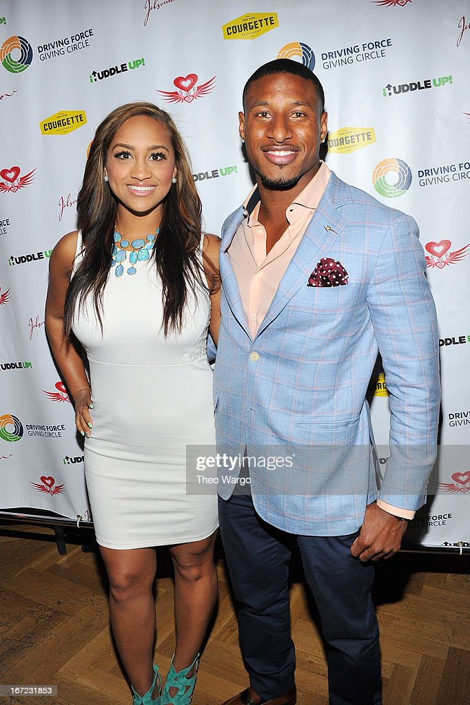 Professional football player Justin Tryon attends Driving Force Giving Circle Karaoke Kickoff Event at Jelsomino on April 22 2013 in New York City