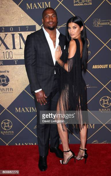 Professional football player Larry English and television personality Nicole Williams attend The 2017 MAXIM Hot 100 Party produced by Karma...