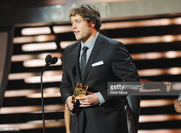 Professional Football Player Matthew Stafford speaks during the 2012 NFL Honors at the Murat Theatre on February 4 2012 in Indianapolis Indiana