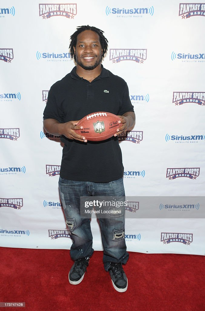 Professional Football player <a gi-track='captionPersonalityLinkClicked' href=/galleries/search?phrase=Maurice+Jones-Drew&family=editorial&specificpeople=243147 ng-click='$event.stopPropagation()'>Maurice Jones-Drew</a> attends the SiriusXM Celebrity Fantasy Football Draft at Hard Rock Cafe - Times Square on July 17, 2013 in New York City.