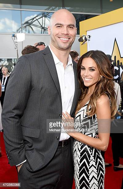 Professional football player Mike Caussin and actress/singer Jana Kramer attend the 50th Academy of Country Music Awards at ATT Stadium on April 19...