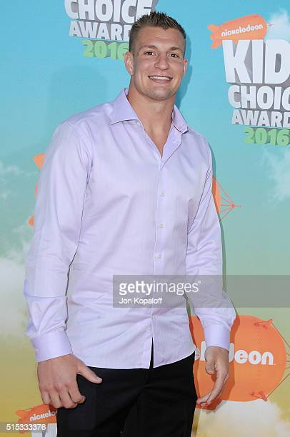 Professional football player Rob Gronkowski arrives at Nickelodeon's 2016 Kids' Choice Awards at The Forum on March 12 2016 in Inglewood California