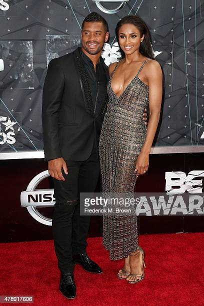 Professional football player Russell Wilson and recording artist Ciara attend the 2015 BET Awards at the Microsoft Theater on June 28 2015 in Los...