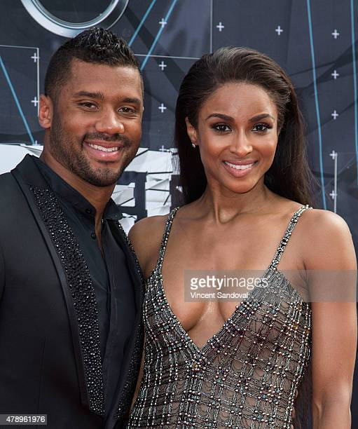 Professional football player Russell Wilson and singer Ciara attend the 2015 BET Awards on June 28 2015 in Los Angeles California