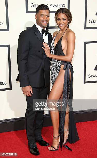 Professional football player Russell Wilson and singer Ciara attend The 58th GRAMMY Awards at Staples Center on February 15 2016 in Los Angeles...