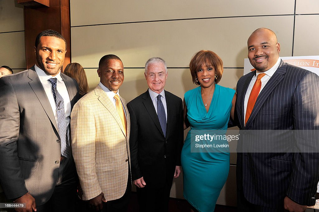 Professional football player Ryan Mundy, former professional football player Ray Mickens, Safe Horizon Board Chair Steve Parrish, Oprah Magazine Editor-at-Large Gayle King, and Safe Horizon Junior Council Member Mark Smith attend Safe Horizon's 35th anniversary celebration at its annual gala at Pier Sixty at Chelsea Piers on May 9, 2013 in New York City.