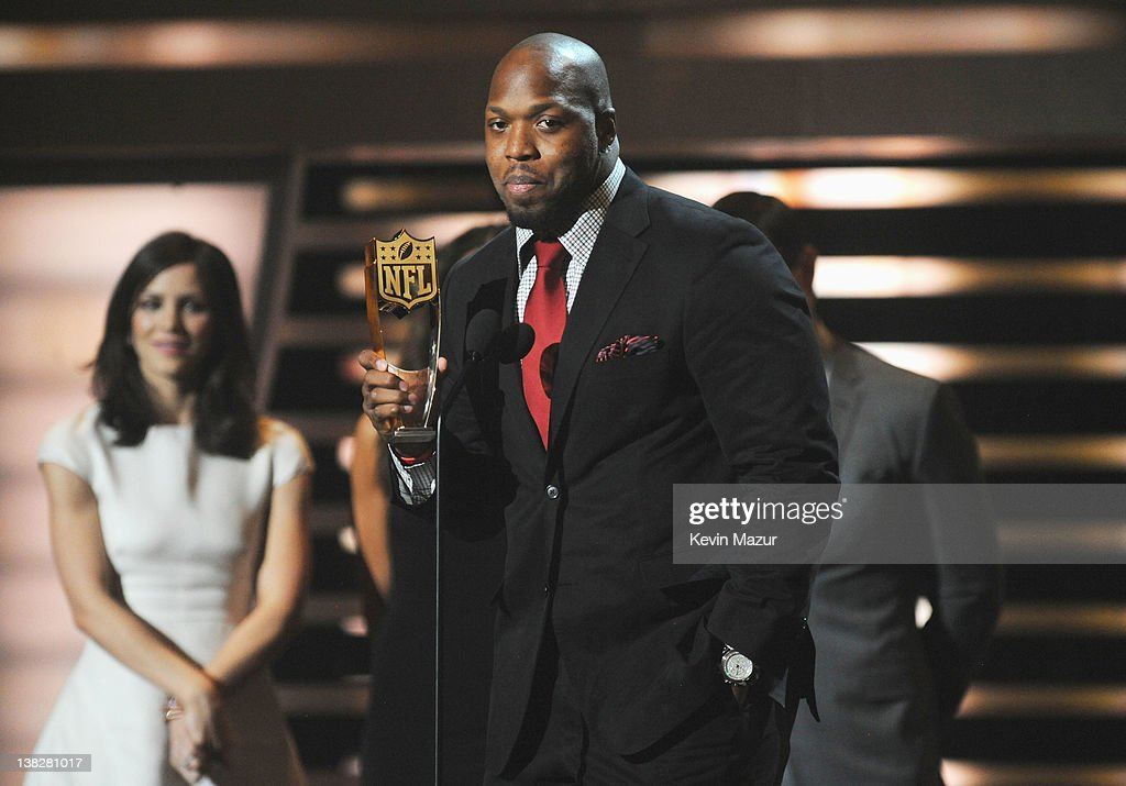 Professional Football Player Terrell Suggs speaks during the 2012 NFL Honors at the Murat Theatre on February 4, 2012 in Indianapolis, Indiana.