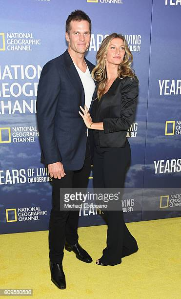 Professional Football player Tom Brady and wife model Gisele Bundchen attend National Geographic's 'Years Of Living Dangerously' new season world...
