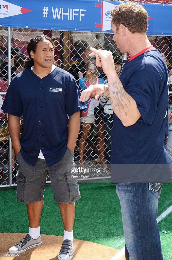 Professional football player veteran Head & Shoulders spokesman Troy Polamalu of the of the Pittsburgh Steelers and professional baseball player Josh Hamilton of the Los Angeles Angels of Anaheim participate in Head & Shoulders 'Whiff-A-Thon' benefiting MLB's Reviving Baseball in Inner Cities Program at The Grove on March 29, 2013 in Los Angeles, California. Ê
