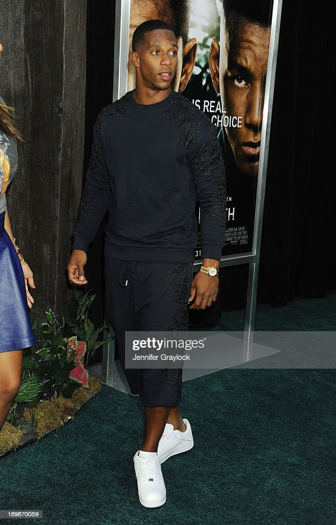 Professional football player Victor Cruz attends the 'After Earth' premiere at Ziegfeld Theater on May 29, 2013 in New York City.