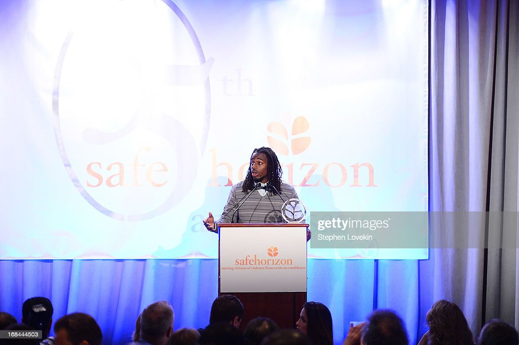 Professional football player William Gay accepts an award at Safe Horizon's 35th anniversary celebration at its annual gala at Pier Sixty at Chelsea Piers on May 9, 2013 in New York City.