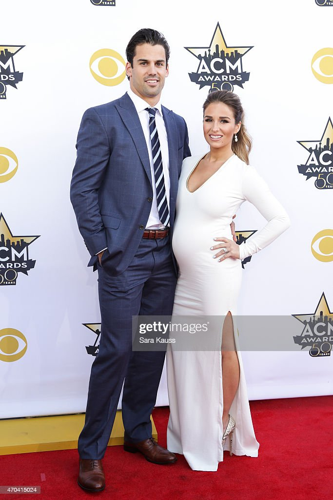 Professional football player/actor Eric Decker and singer/actress Jessie James Decker attend the 50th Academy Of Country Music Awards at ATT Stadium...