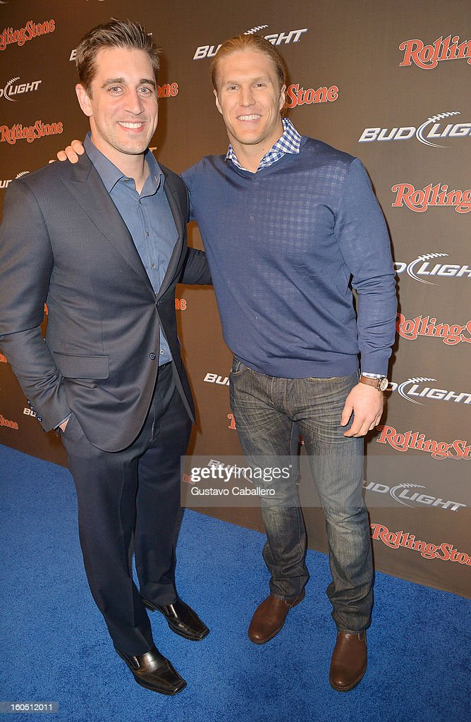 Professional football players Aaron Rodgers (L) and Clay Matthews arrive at the Rolling Stone LIVE party held at the Bud Light Hotel on February 1, 2013 in New Orleans, Louisiana.