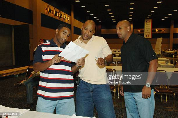 Professional football players Kenyon Rasheed Mike Hamilton and Dorsey Levens attend the 2008 World Championship of Fantacy Football Celebrity League...