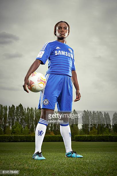 Professional footballer for England and Chelsea Eniola Aluko is photographed for the Observer on May 8 2015 in London England