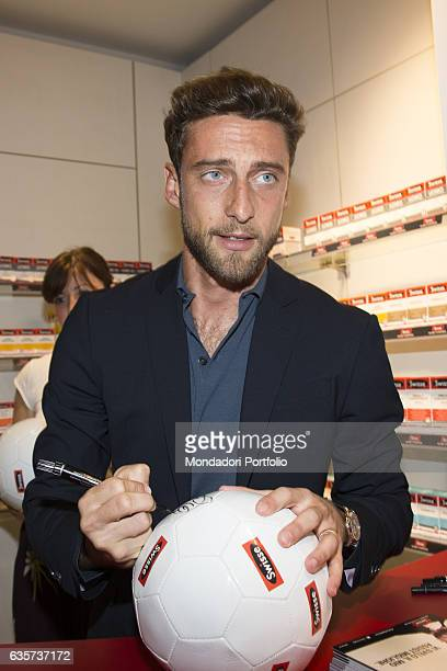 Professional footballer who plays as a midfielder for Juventus and the Italian national team Claudio Marchisio meeting the fans at the pharmacy Carlo...