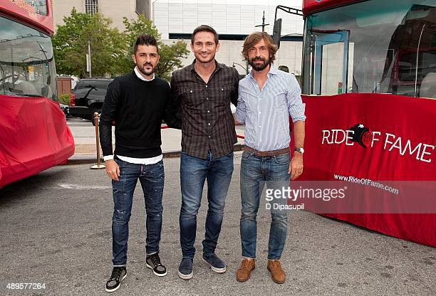 Professional footballers David Villa Frank Lampard and Andrea Pirlo attend the New York City Football Club Ride of Fame Induction Ceremony at Pier 78...