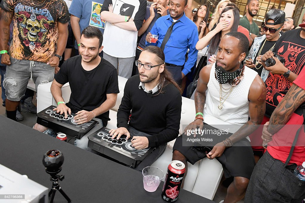 Professional gamers Chris Tatarian Christopher Gonzales and recording artist Safaree Samuels attend Next Level Presented By AMP Energy A Hip Hop...