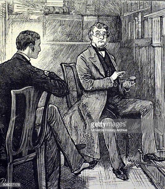 Professional gentleman sitting by fireside taking apinch of snuff Illustration by Frank Dadd London 1883 Photo by