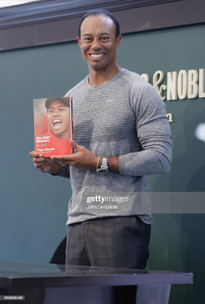 Professional golf player, Tiger Woods signs copies of his new book 'The 1997 Masters: My Story' at Barnes & Noble Union Square on March 20, 2017 in New York City.