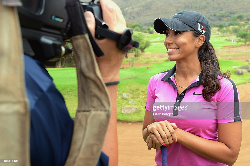 Professional Golfer Cheyenne Woods is interviewed during the Pro-Am of the Gary Player Invitational presented by Coca-Cola at The Lost City Golf Course on November 15, 2013 in Sun City, South Africa.