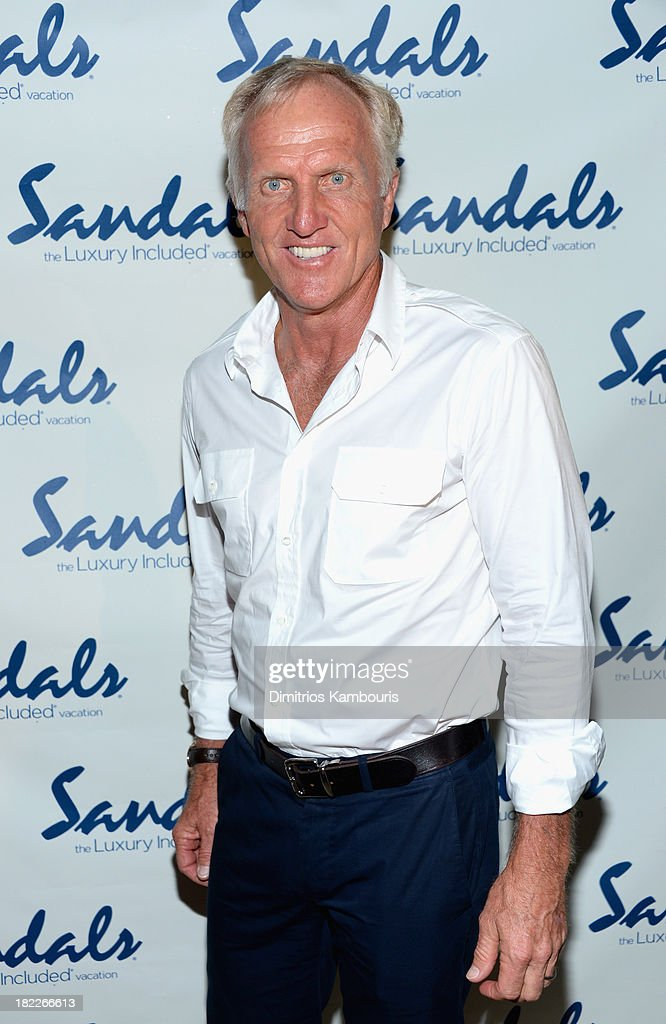 Professional Golfer <a gi-track='captionPersonalityLinkClicked' href=/galleries/search?phrase=Greg+Norman&family=editorial&specificpeople=201538 ng-click='$event.stopPropagation()'>Greg Norman</a> attends the Happy Hour Welcome Reception & Discovery Dining Dinner during Day Two of the Sandals Emerald Bay Celebrity Getaway And Golf Weekend on September 28, 2013 at Sandals Emerald Bay in Great Exuma, Bahamas.