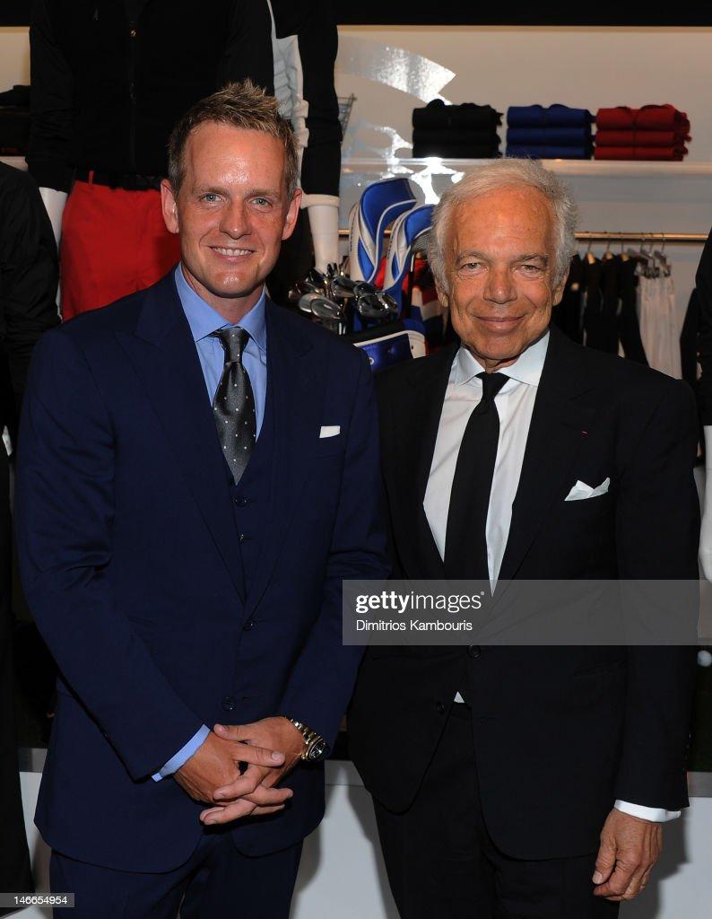 Professional golfer Luke Donald (L) and designer Ralph Lauren attend Ralph Lauren\u0026#39;s launch of