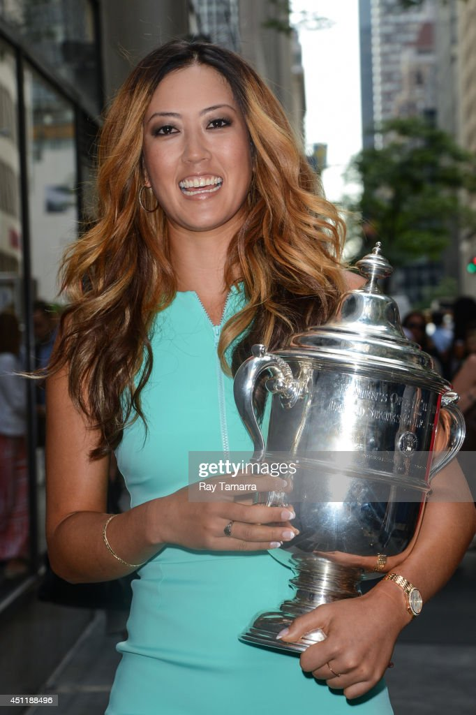 Professional golfer <a gi-track='captionPersonalityLinkClicked' href=/galleries/search?phrase=Michelle+Wie&family=editorial&specificpeople=201982 ng-click='$event.stopPropagation()'>Michelle Wie</a> leaves the 'Today Show' taping at the NBC Rockefeller Center Studios on June 24, 2014 in New York City.