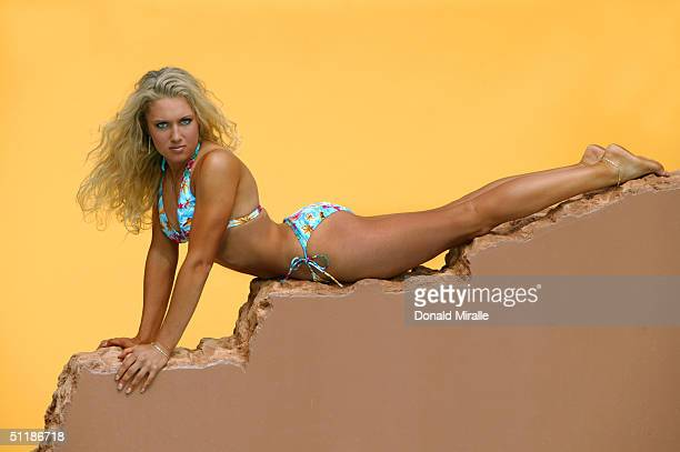 Professional Golfer Natalie Gulbis poses for a portrait during a Calendar Shoot at the Lake Las Vegas Resort on April 20 2004 in Henderson Nevada