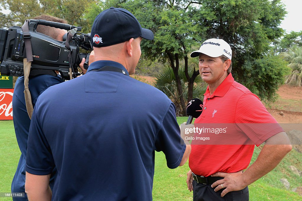 Professional Golfer Retief Goosen is interviewed during the Pro-Am of the Gary Player Invitational presented by Coca-Cola at The Lost City Golf Course on November 15, 2013 in Sun City, South Africa.