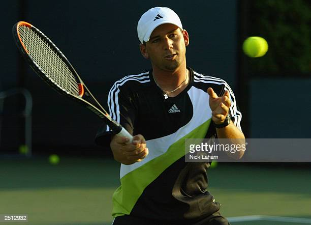 Professional golfer Sergio Garcia of Spain hits some balls on a practice court while attending the US Open on August 28 2003 at the USTA National...