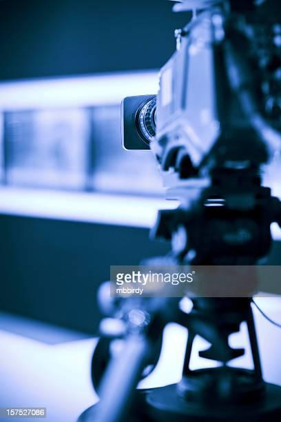 Professional HD broadcast video camera in studio
