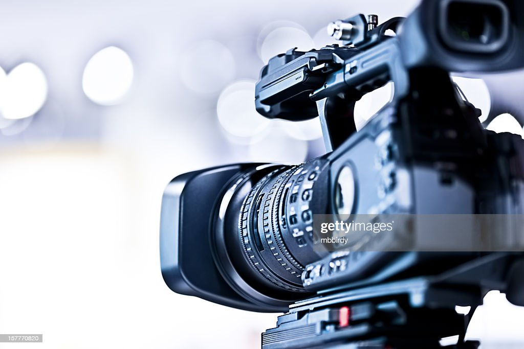 Professional HD video camera in studio