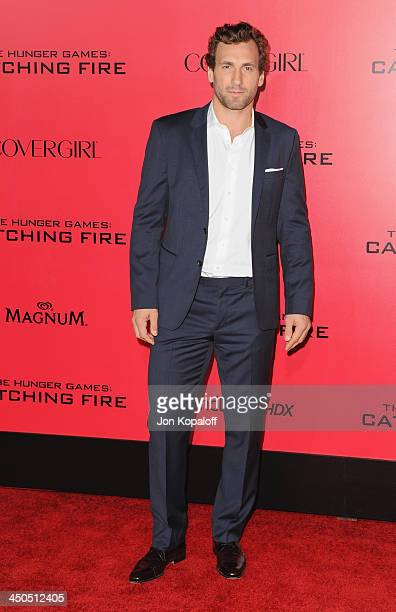 Professional hockey player Jarret Stoll arrives at the Los Angeles Premiere 'The Hunger Games Catching Fire' at Nokia Theatre LA Live on November 18...