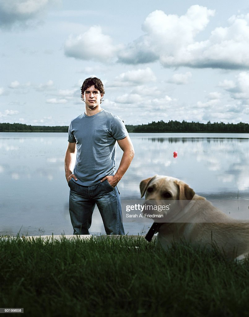 Professional hockey player Sidney Crosby poses at a portrait session in Nova Scotia, Canada.