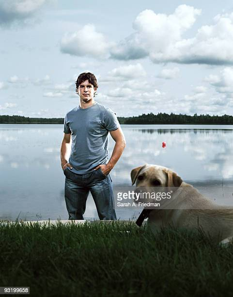 Professional hockey player Sidney Crosby poses at a portrait session in Nova Scotia Canada