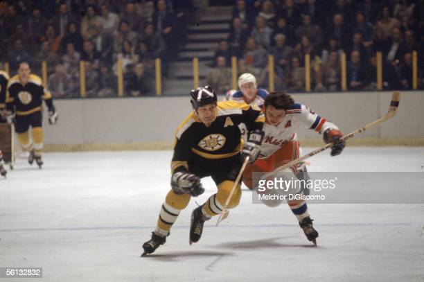 Professional hockey player Ted Green of the Boston Bruins skates up the ice during a road game against the New York Rangers at Madison Square Garden...