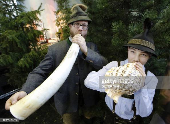 Professional hunter Sebastian Sagmeister and Alexander Hochleitner are pictured at the 'Hohe Jagd' hunting fair on February 24 2013 in Salzburg...