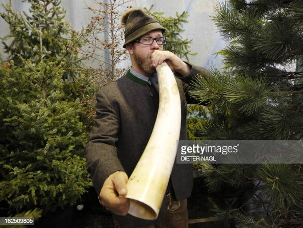 Professional hunter Sebastian Sagmeister is pictured at the 'Hohe Jagd' hunting fair on February 24 2013 in Salzburg Austria AFP PHOTO/DIETER NAGL