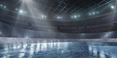 Professional ice arena for Short Track in 3D with tribune, fans and rays of light