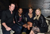 Professional ice hockey player Dion Phaneuf actors Damon Wayans Jr Eliza Coupe and Elisha Cuthbert attend The Hollywood Reporter Toasts The Next Gen...