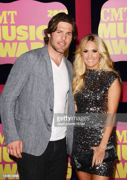 Professional Ice Hockey player Mike Fisher and singer Carrie Underwood arrive at the 2012 CMT Music awards at the Bridgestone Arena on June 6 2012 in...