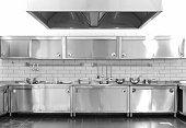 Industrial kitchen. Nobody.