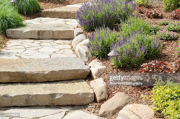 Professional landscape with stone path