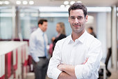 Woman man smiling business team desk
