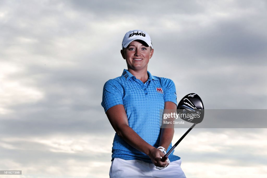 Professional LPGA golfer <a gi-track='captionPersonalityLinkClicked' href=/galleries/search?phrase=Stacy+Lewis&family=editorial&specificpeople=4217318 ng-click='$event.stopPropagation()'>Stacy Lewis</a> poses during a photo shoot on February 6, 2013 in Palm Beach, Florida.