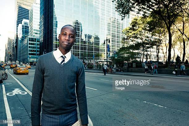 Professional male on city street