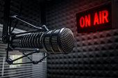 Professional microphone in radio studio