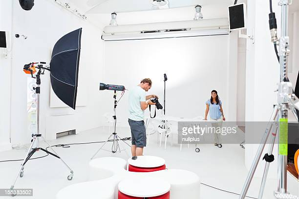 professional photographer working in studio