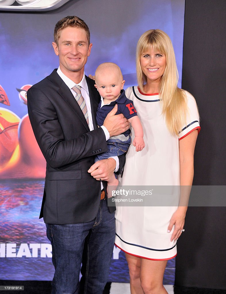 Professional race car driver <a gi-track='captionPersonalityLinkClicked' href=/galleries/search?phrase=Ryan+Hunter-Reay&family=editorial&specificpeople=2197753 ng-click='$event.stopPropagation()'>Ryan Hunter-Reay</a>, Ryden Hunter-Reay, and Beccy Hunter-Reay attend the 'Turbo' New York Premiere at AMC Loews Lincoln Square on July 9, 2013 in New York City.